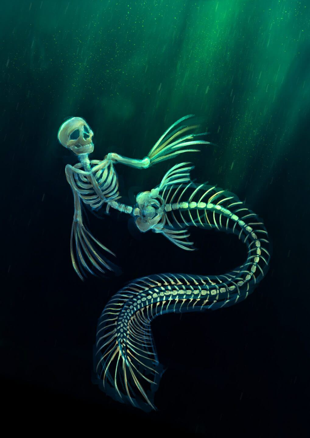 A deep sea undead mermaid in her natural habitat.